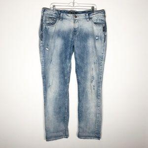 Silver Jeans Womens 16 Boyfriend Distressed Light